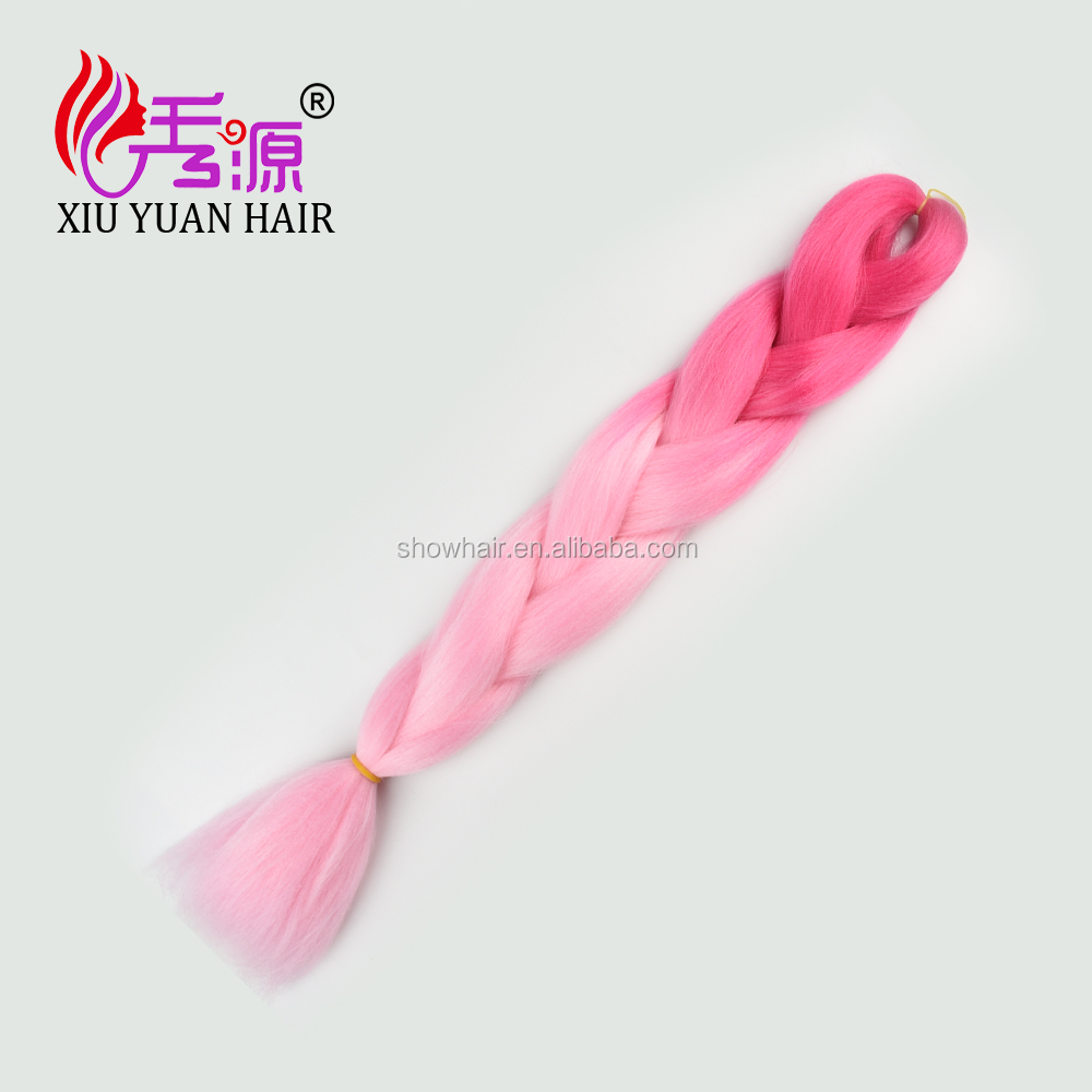 pink 3 ombre colors synthetic hair,colored synthetic hair ,synthetic hair extension