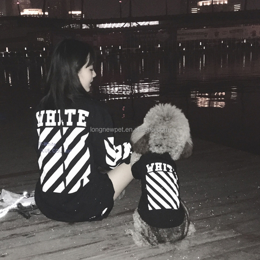 2017 Best Selling Black and White Hoodies Shirts Matching Human Owner and Dog Wear Clothing