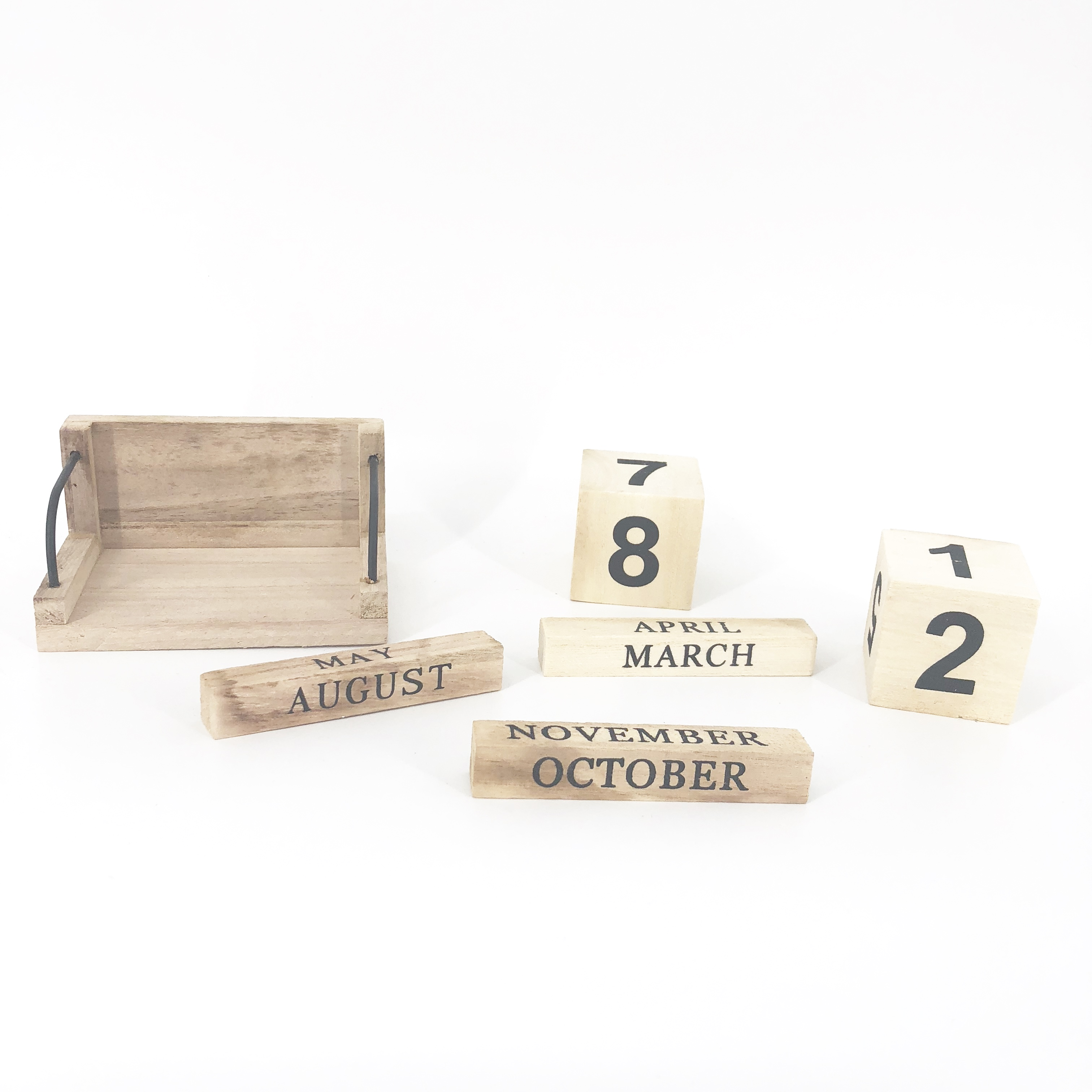 new products Vintage Wooden Block Desk Accessory Shabby Rustic Chic Number Perpetual Calendar