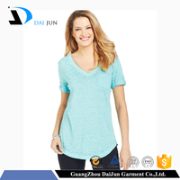 Daijun oem v neck short sleeve breathable ladies t shirt with pocket
