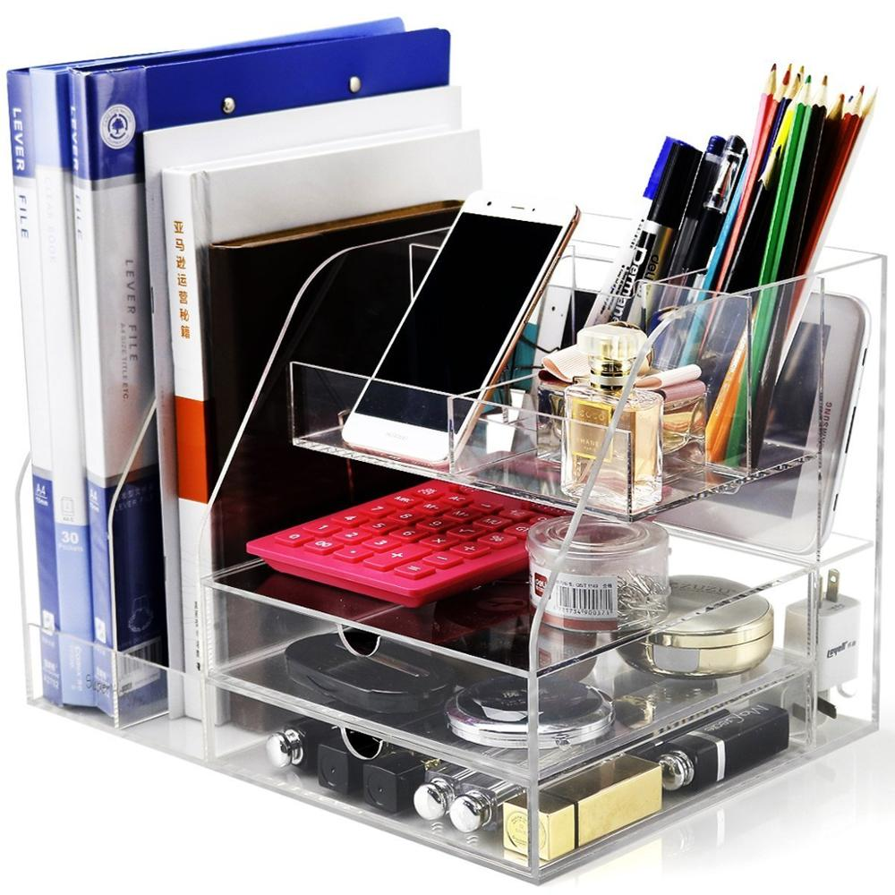 Clear Acrylic Office Desk Organizer for Files and Accessories