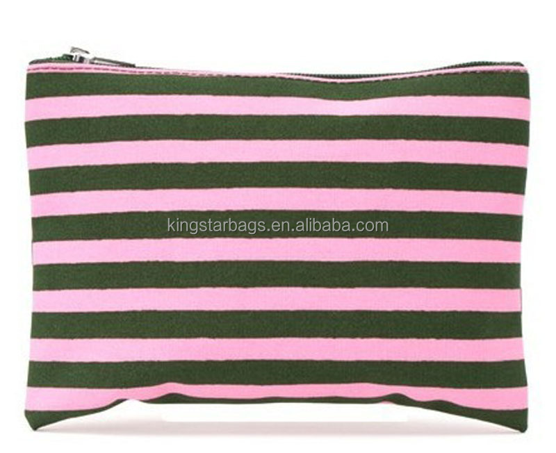 Stripes Canvas Cosmetic Pouch