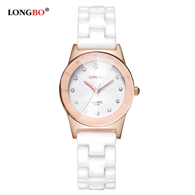 Luxury White Ceramic Water Resistant Classic Easy Read Sports Women Wrist Watch, Top Quality Lady Rhinestone watch