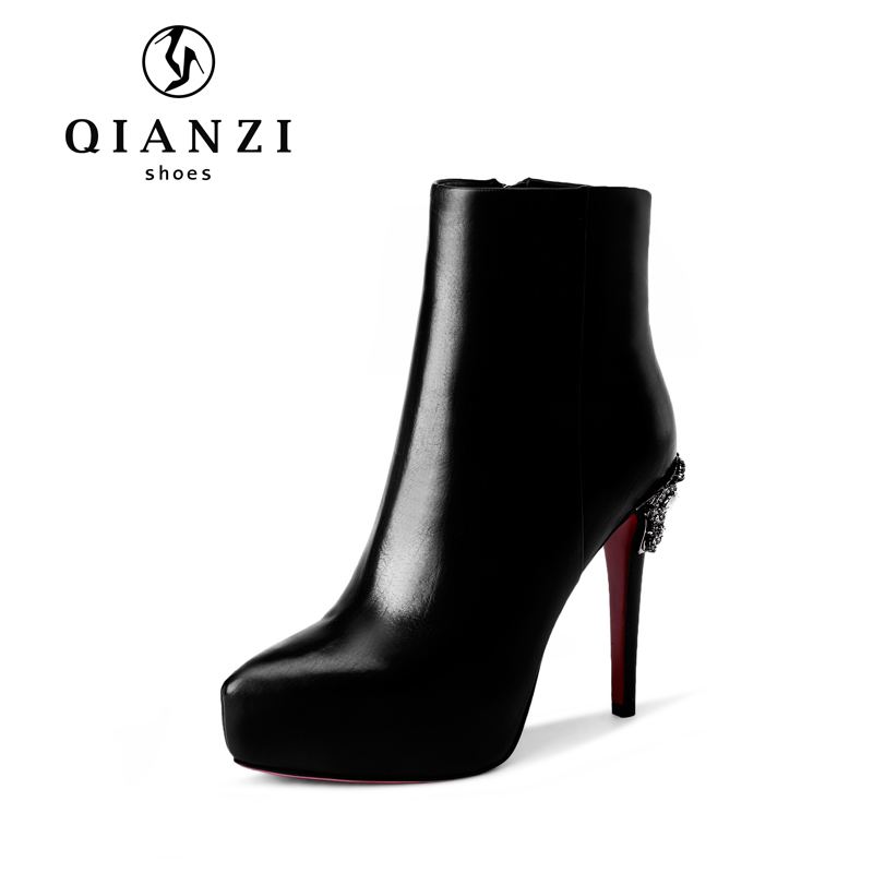X323 Factory discount Autumn and winter wear black or red high heel leather boots for ladies