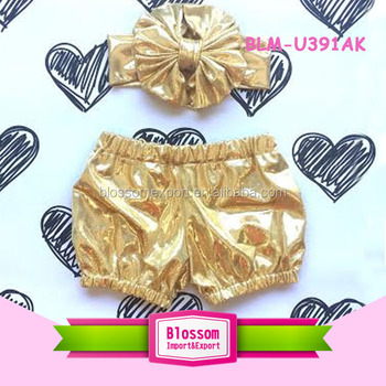 Headband wholesale designer birthday outfit toddler baby girls metallic gold shorts