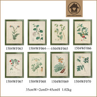 Green Framed Vintage Glass Painting Pictures of Flowers