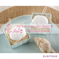"NEWEST In Stock-""By the Shore"" Sand Dollar Shaped Wedding Scented Soaps in Gift Box Wedding Favors"