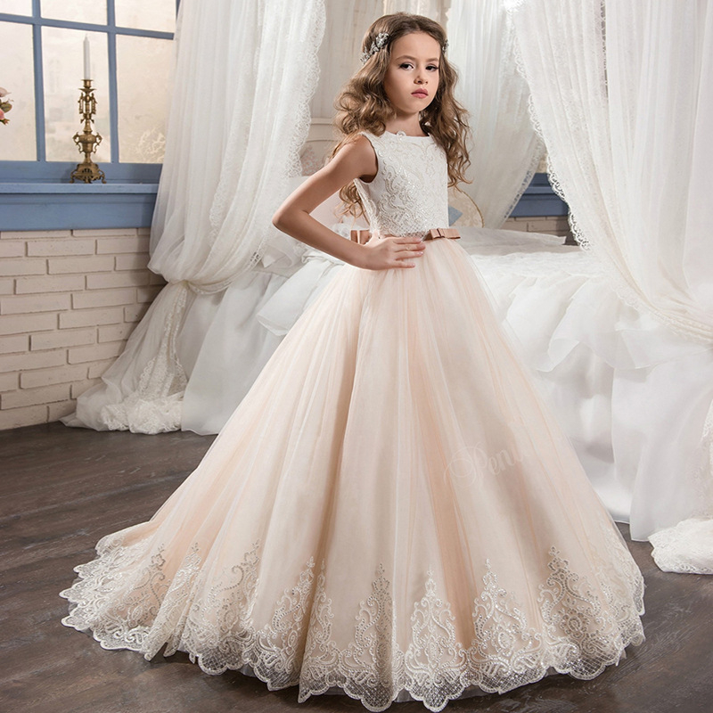 Boutique Wholesale Kids Girl Dress Wedding Prom Girls 2,13y 10 Years Old  Ball Gowns Flower Lace Bridesmaid Dresses , Buy Flower Girl Wedding
