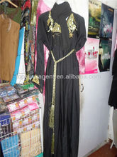 islamic black designer burqa jalabia with rope belt