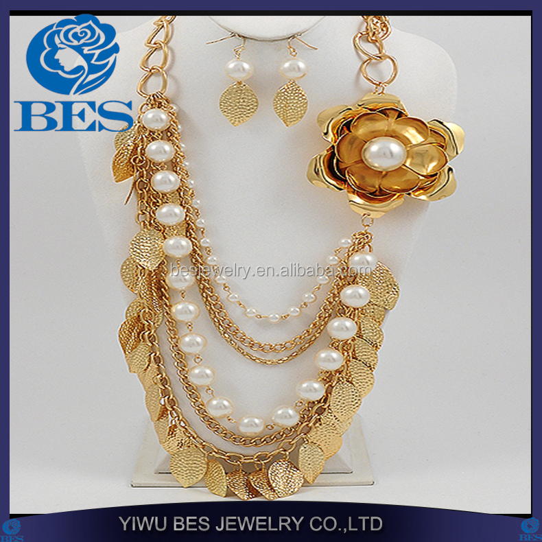 latest deisgn 18k gold pearl wedding jewelry sets bridal gold plated leaf jewelry set