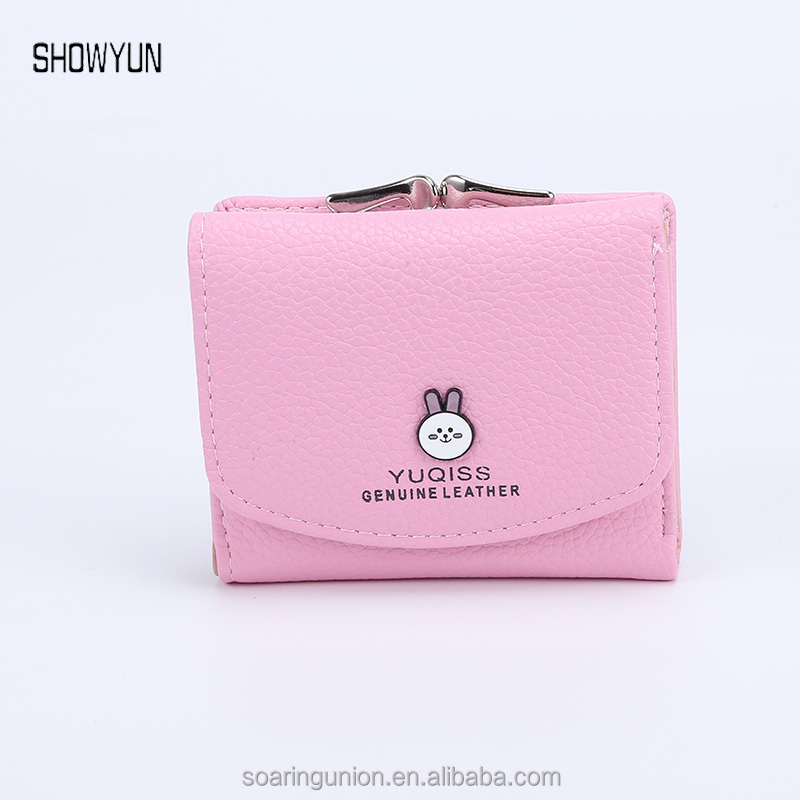 New Fashion Lady Wallet Short PU Material Purse Female Wallet Lovely Rabbit Button Design Small Purse