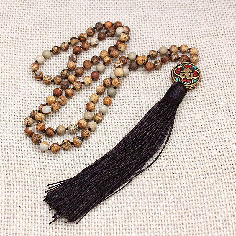 Natural imperial long tassel healing meditation tibetan buddist prayer mala beads yoga necklace