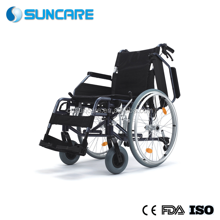18 Inch Deluxe Foldable and Detachable Light Weight Aluminum Wheelchair With Quick Release PU Rear Spoke Wheel