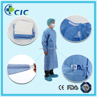 Medical disposable reinforced surgical gown with knitted cuff & four waist tapes