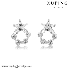 92609 XUPING fahsion five-pointed star cubic zirconia stud earrings,indian jewelry,accessory