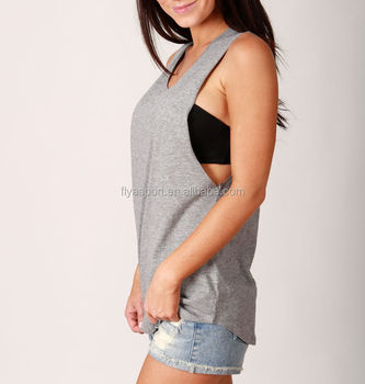 OEM service wholesale 100% cotton bodybuilding singlet for woman