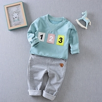 6M-4T Baby Boy Plain Long Sleeve T-shirt Top + Striped Pants Outfits Set