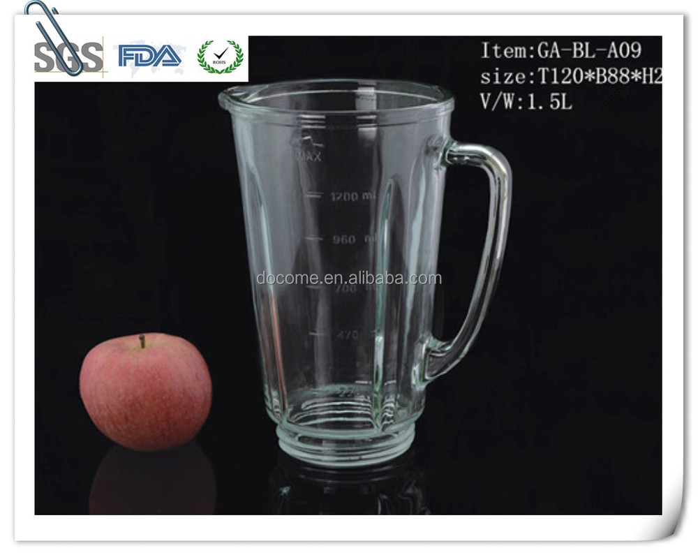 1.5 litre glass jar as replament parts of household electric juicer machine for food blending