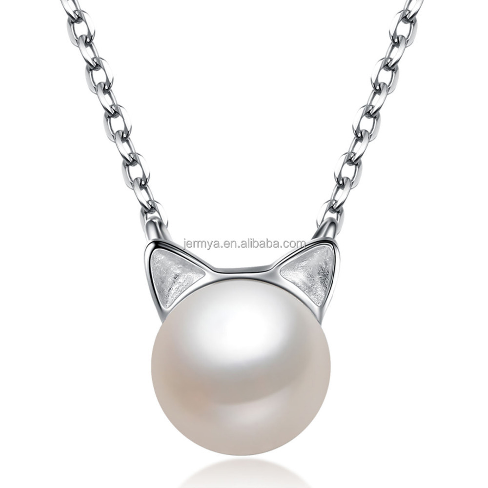 Jermya Cat Lover S925 Sterling Silver Freshwater Pearl Pendant Choker Necklace for Women Girls