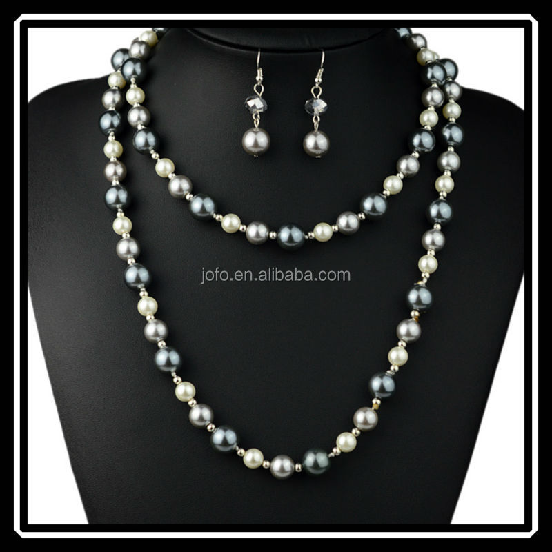 Latest Design Wedding Black Pearl Jewelry Sets For Women Silver Plated Beaded Necklace With Drop Earrings