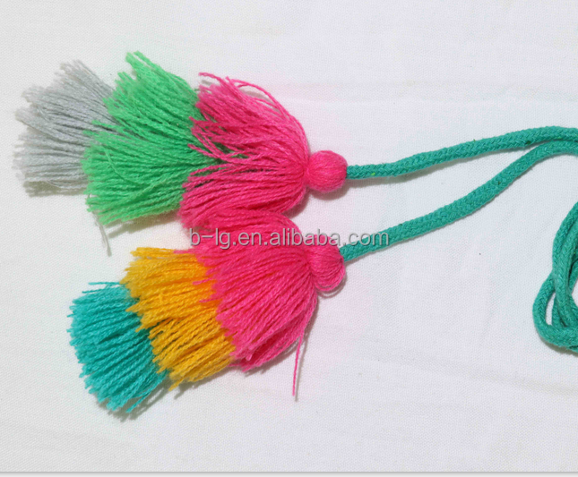 Wholesale colorful multi-usage cotton material dress tassel fringe