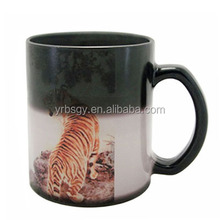 China supplier black full color changing ceramic hot water mug with tiger printed