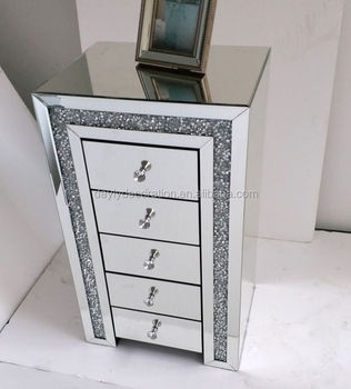5 drawer mirror cabinet with crystal on