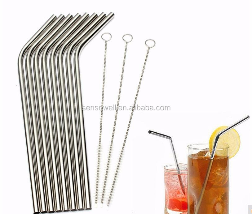 New Arrival Kitchen Bar Accessories 8 Pcs Stainless Straws With 3 Cleaner Brush Metal Drinking Straw Stainless Steel Bend