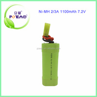 durable long service life 1100mAh 7.2v ni-mh rechargeable battery pack