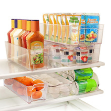 6 Piece Refrigerator and Freezer Stackable Storage Organizer Bins with Handles, Clear