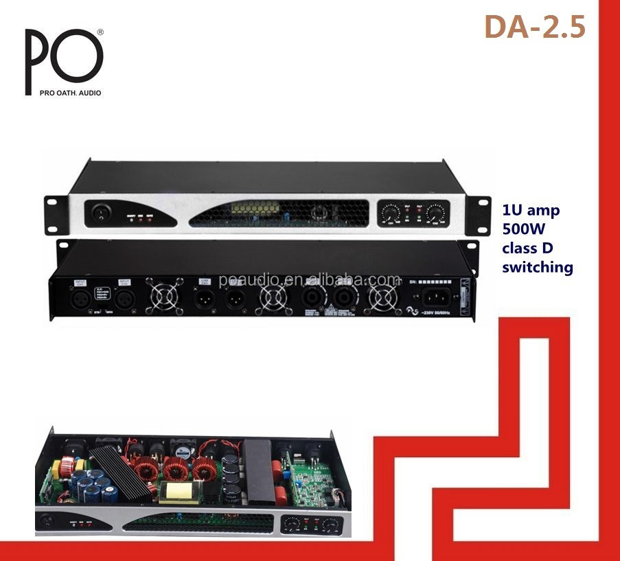 sound digital amplifier da-2.5 po audio 500w 1u digital amplifier