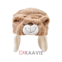 funny animal pattern infant baby bear polar fleece winter hat with ear flap