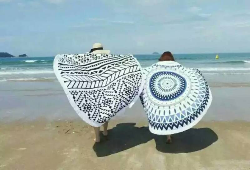China wholesale 100 Cotton Customized Round Beach Towel