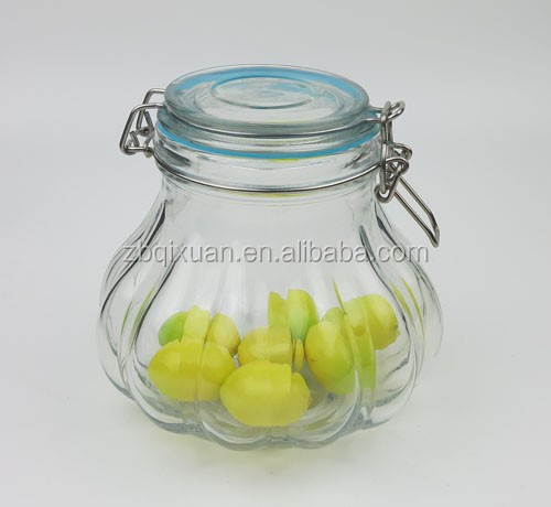 1200ml Pumpkin Shape Glass Hermetic Clip Jar with Metal Clip and Silicone Seal