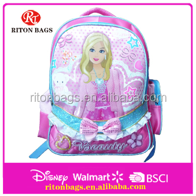 Pink Girls Children School Bag Backpack with Pretty Girls Printed School Bag Wholesale for Teenagers