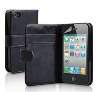 Size 100% Confirmed Book Style Wallet Leather Case for iPhone 4/4S