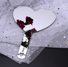 Acrylic Makeup Mirror Promotional Double Side Anti-fall Mirror Customize Heart Shape Mirror
