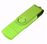 Factory price green 1GB 2GB swivel OTG usb flash drive with logo