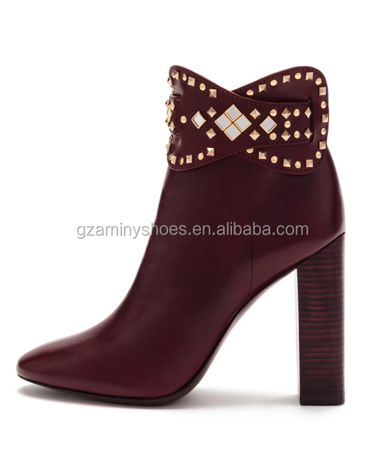 Sexy red women ankle boots with rivets high heel fashion leather ankle boots for ladies