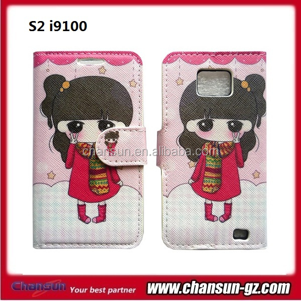 cartoon book flip leather case for samsung galaxy s2 i9100