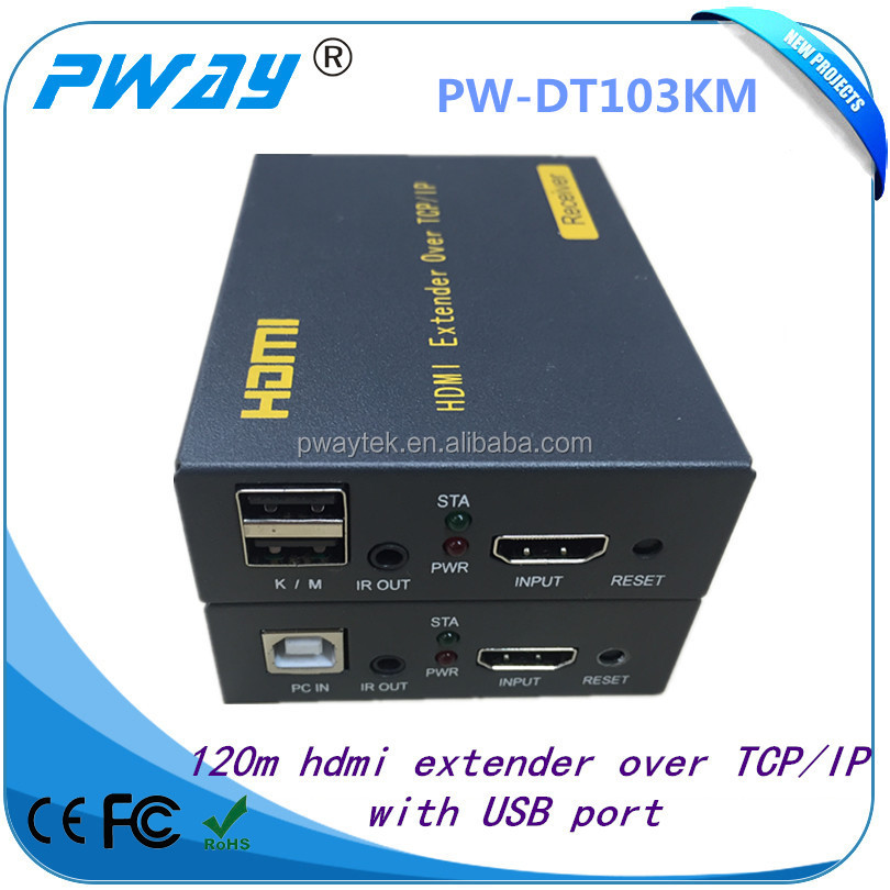 Support IR and USB2.0 KVM rj45 ethernet TCP/IP hdmi extender with switch one to many 120m over cat5e/6