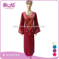 Woman Daily Wear Front Embroidery Long Muslim Abaya For Arabian