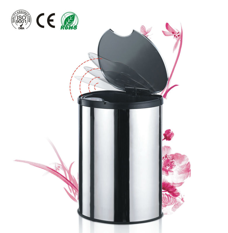 Intelligent inductive stainless steel dustbin with inner bin 14L