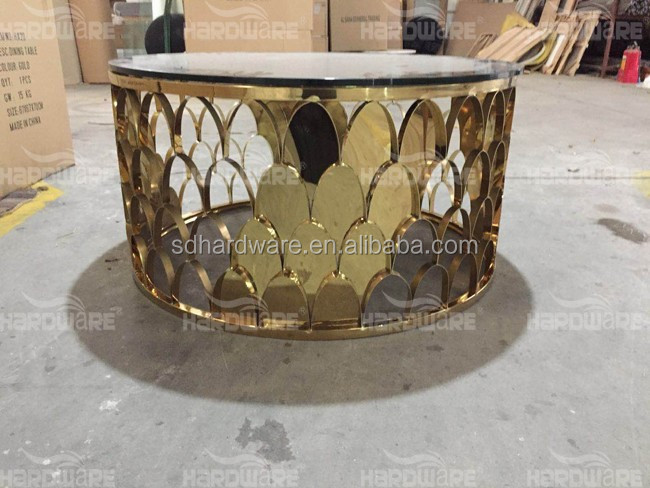 gold stainless steel round mirror glass coffee table