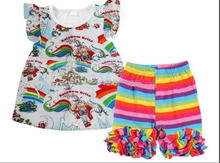 Baby girl boutique summer rainbow castle prints with matching colorful ruffle shorts designed for fancy girls clothing sets