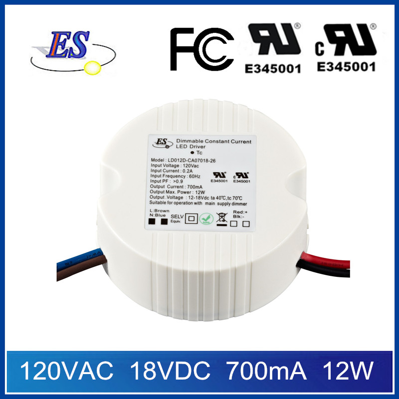 ES 120Vac 12-18Vdc 700mA 12W output power constant current led driver power supply with TRIAC dimming,UL CUL IP65