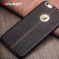 QIALINO first layer cow leather Case, Ultra Slim Real Natural Leather Back Cover For iPhone 6 6s Plus