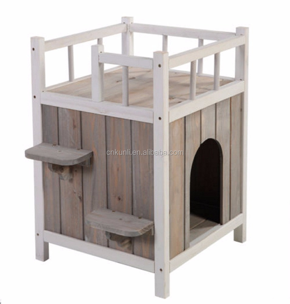 Wooden Cat Pet Home with Balcony Pet House Small Dog Indoor Outdoor Shelter