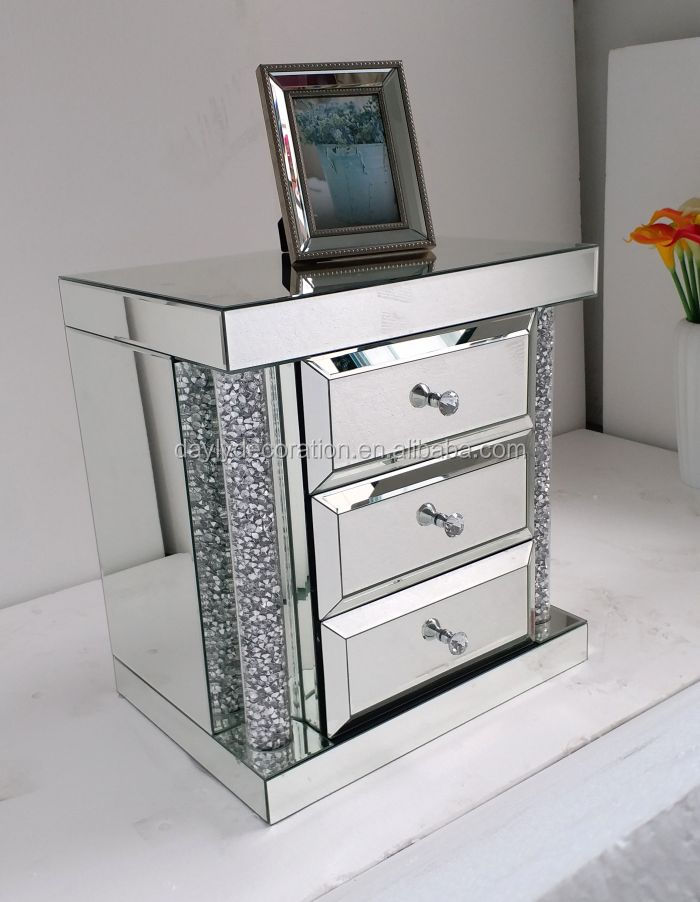 3 drawer mirror bedside table with round crystal pillar
