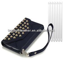 Black Studded Purse Wallet Case for Samsung Galaxy S4 Mini + 6 PC lcd Guard,Purse Case for Samsung Galaxy S3